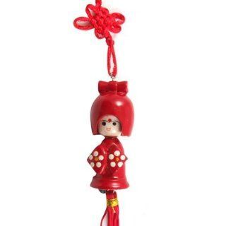 Red Chinese Knot Japanese Kokeshi Doll Phone Handbag Charm Strap: Cell Phones & Accessories