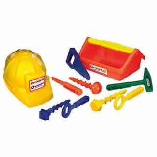 Builder Tool Set with Hard Hat and Tool Box 6 pieces PVC Free   Toy Vehicles