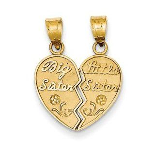 IceCarats Designer Jewelry 14K Big Sister/Little Sister Break Apart Charm: IceCarats: Jewelry