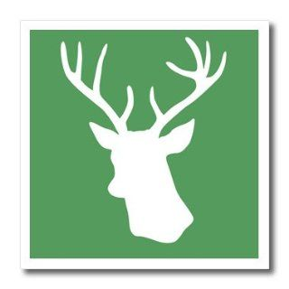 ht_112847_2 InspirationzStore Deer designs   White deer head silhouette on green   stag with antlers shadow   stylish modern contemporary xmas   Iron on Heat Transfers   6x6 Iron on Heat Transfer for White Material Patio, Lawn & Garden