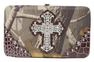 Emperia Women's Wallet/Clutch with Push Button Closure and Embellished Silver Rhinestone Cross, Realtree Light Green/Brown, Small : Sports & Outdoors