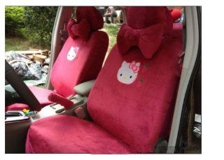 Red Color 18pcs Hello Kitty Car Seat Covers Car Rearview Seat Covers Hellokitty Car Cushion   Ropes