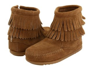 Minnetonka Kids Side Zip Double Fringe (Toddler/Little Kid/Big Kid) Taupe Suede