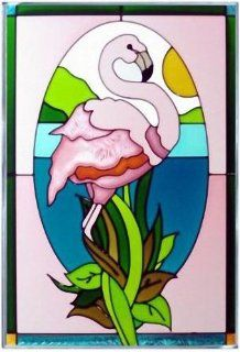 Shop Pink Flamingo Art Glass Panel 20 x 14 at the  Home D�cor Store