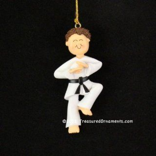 Ornament Central OC 024 MBR Male Karate Christmas Ornament, 3 1/2 Inch, Brown   Decorative Hanging Ornaments