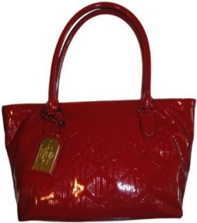 Women's Ralph Lauren Purse Handbag Signature Patent Shopper Bright Red: Clothing