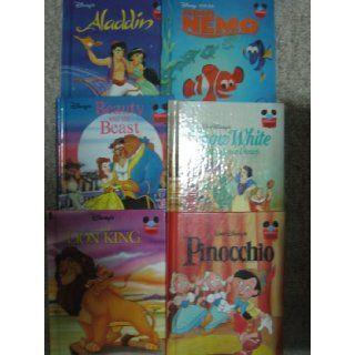 Six Disney Wonderful World of Reading Hard Cover Books (Aladdin; Finding Nemo; Beauty and the Beast; Snow White; Pinocchio; The Lion King) (Disney's Wonderful World of Reading) Walt Disney Productions Books