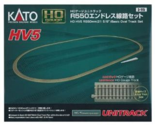 "Kato USA Model Train Products HV5 UNITRACK R550mm Basic Oval Track Set, 21 5/8"": Toys & Games"