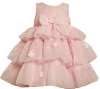 Bonnie Jean Girls 2 6X Organza Tiered Dress With Delicate Flower Trim, Pink, 2T Bonnie Jean Clothing