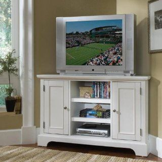 Home Styles 5530 07 Naples Corner Entertainment Credenza, White Finish   Sideboards Buffets Credenzas