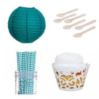 Dress My Cupcake Laser Cut Wrappers Dessert Table Party Kit with Lanterns, Aqua Chevron Straws Kitchen & Dining