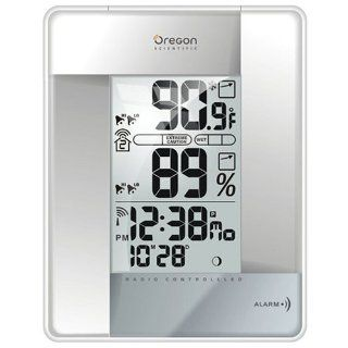 Oregon Scientific RMR383HGA S Wireless Indoor/Outdoor Thermometer with Self Setting Atomic Clock, Silver: Home & Kitchen