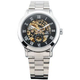 AMPM24 Mechanical Analog Black Dial Stainless Skeleton Mens Sport Wrist Watch Cool PMW025: Watches