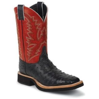 Justin Boots Black Full Quill Ostrich Tekno Crepe: Shoes