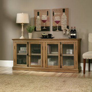 Sauder Barrister Lane Storage Credenza in Scribed Oak : Home Entertainment Centers : Office Products