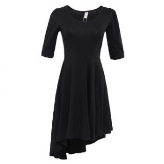 Gamiss Women's Hot Sale Low cut Scoop Neck Form fitting High Low Tunic Dress at  Women�s Clothing store: Black High Low Dress