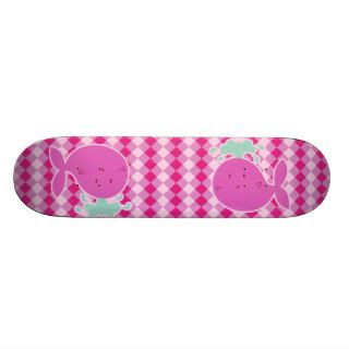 Cute Pink Cartoon Whale Skateboard Deck
