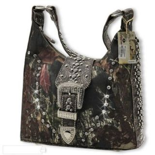 Coffee Women Purse Handbag Camo Camouflage Mossy Oak Belt Buckle: Shoes