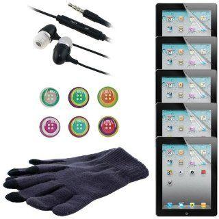 Skque® Branded Reusable Screen Protector Clear Shield(5 Packs) + Generic 3.5mm Stereo Headphone w/ Microphone,Black + Fashion Beautiful Home Button Sticker Polka Dots with Hearts + Gray Touch Screen Glove for Apple Ipad 2nd Gen Tab 16GB 32GB 64GB Comp