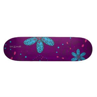 Girly Tribal Tattoo Flowers and Heart Vines Design Skate Board Deck