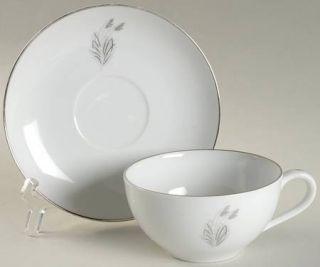 Fukagawa Moonlight Flat Cup & Saucer Set, Fine China Dinnerware   Platinum And G