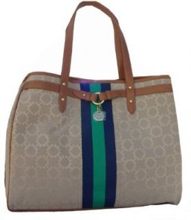 Women's Tommy Hilfiger Large Tote Handbag (Beige/Navy/Green/Brown): Shoes