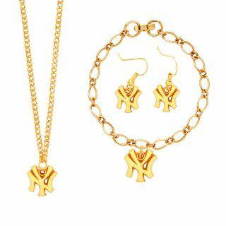 MLB New York Yankees NY Logo Jewelry Set : Sports Fan Bracelets : Sports & Outdoors