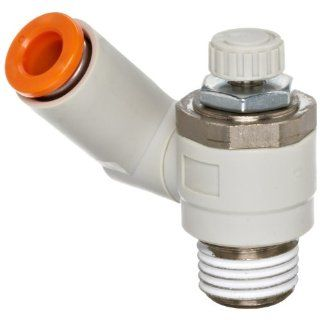 """SMC AS2301F N02 07S Air Flow Control Valve with Push to Connect Fitting, PBT & Nickel Plated Brass, Universal, With Sealant, 1/4"""" NPT Male x 1/4"""" Tube OD Industrial Control Valves Industrial & Scientific"""