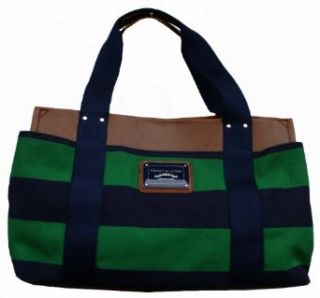 Women's Tommy Hilfiger Medium Iconic Tote Handbag (Navy/Green/Tan) Clothing