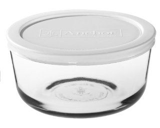 Anchor Hocking 8 Piece 7 Cup Round Food Storage Containers with White Plastic Lid, Set of 4 Kitchen & Dining