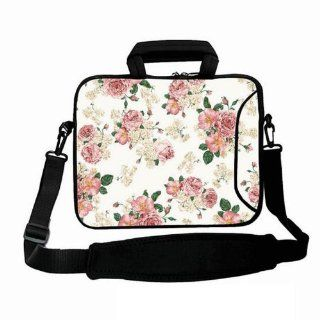 """White and Pink Floral 17'' Laptop Shoulder Bag Case Sleeve Cover for 17"""" 17.3"""" Apple Macbook Pro Computers & Accessories"""
