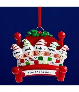 Shop Family in Bed Christmas Ornament   4 People at the  Home D�cor Store. Find the latest styles with the lowest prices from Personal Creations