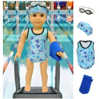 Swim Team Star Swimsuit Set for American Girl Dolls Includes Swim Cap, Goggles, Towels and Bathing Suit by Lilly and the Bee Novelties (TM) Toys & Games