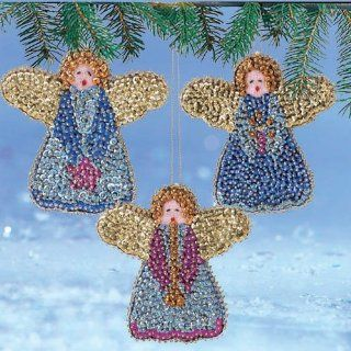 Craftways Trio of Angels Ornament Sequin Art Kit   Christmas Bell Ornaments