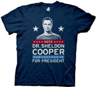 The Big Bang Theory Vote Dr. Sheldon Cooper for President Navy Mens T shirt Clothing