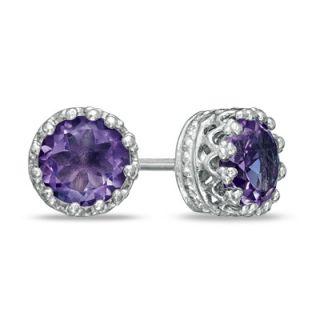 0mm Amethyst Crown Earrings in Sterling Silver   Zales