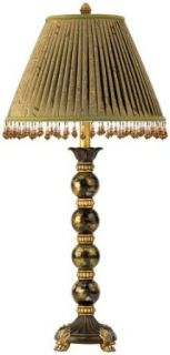 Lite Source C478 Lizzy Buffet Table Lamp, Bronze And Gold with Fabric Shade And Beads