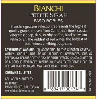 2009 Bianchi Petite Sirah San Luis Obispo County Paso Robles Plummer Signature Selection 750 mL: Wine