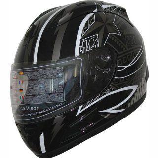 DOT Full Face Motorcycle sports Bike Helmet 508_122 Black (Large) Automotive