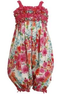 Bonnie Jean Girls 2T 6X Fuchsia Pink Glittered Floral Print Romper/Jumpsuit Clothing