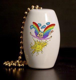 Rainbow Fairy Porcelain Fan / Light Pull   Ceiling Fan Pull Chain Ornaments