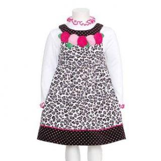 Bonnie Jean Girls Leopard Print Rose Flower Jumper Dress Set, Black / White, 4T  Infant And Toddler Dresses  Baby