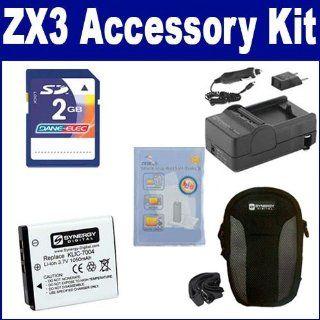 Kodak PlaySport Zx3 Digital Camera Accessory Kit includes SDC 22 Case, ZELCKSG Care & Cleaning, SDKLIC7004 Battery, PT27 Charger, KSD2GB Memory Card  Camera & Photo