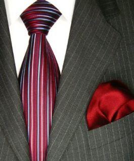 Lorenzo Cana Luxury Italian Pure Silk Woven Tie Hanky Set Red Blue Stripes Necktie 4202801 at  Men�s Clothing store