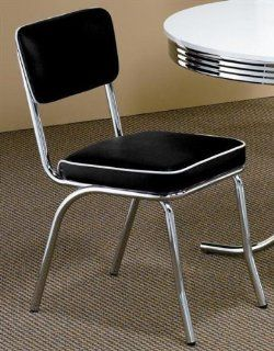 50?s Soda Fountain Chair   Black Cushion (Sold As a Pair) by Coaster Furniture   Dining Chairs