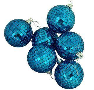"6ct Regal Peacock Blue Mirrored Glass Disco Ball Christmas Ornaments 3.25"" 80mm"