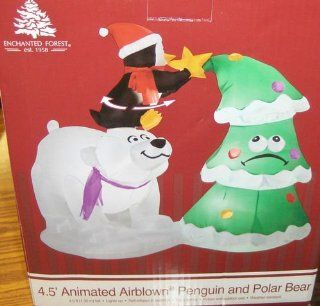 Polar Bear, Penguin, & Christmas Tree Animated 4.5 Ft Christmas Airblown Inflatable : Other Products : Everything Else