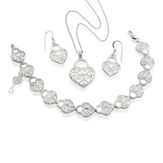 Filigree Heart Pendant, Earrings and Bracelet Set in Sterling Silver