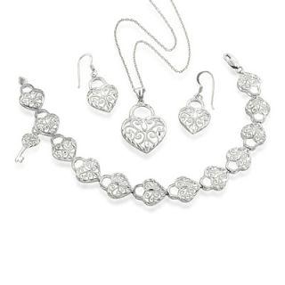 Filigree Heart Pendant, Earrings and Bracelet Set in Sterling Silver