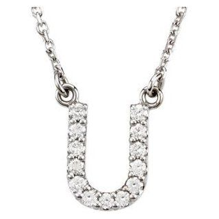 "14k White Gold Diamond Alphabet Letter U Necklace (1/8 Cttw, GH Color, I1 Clarity), 16.25"": Pendant Necklaces: Jewelry"